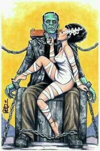 The bride of Frankenstein. ❣Julianne McPeters❣ no pin limits Halloween Horror, Halloween Art, Happy Halloween, Halloween Recipe, Halloween Cupcakes, Halloween Stuff, Halloween Costumes, Caricatures, Rockabilly