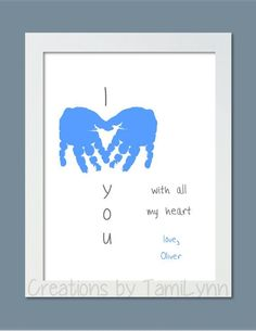 I Love You Baby Handprint Art Personalized by CreationsbyTamiLynn Daycare Crafts, Baby Crafts, Toddler Crafts, Preschool Crafts, Kindergarten Crafts, Kid Crafts, Daddy Day, Mom Day, Fathers Day Crafts