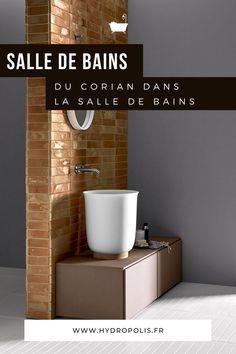 Connaissez-vous cette matière ? Grâce à ses nombreuses qualités, le corian est un matériau noble particulièrement adapté à une utilisation dans la salle de bains. Pour en connaître tous ses secrets, rendez-vous sur notre blog. #corian #article #blog #hydropolis #salledebains #designer #architecte #decorationinterieure #deco #homedecor #bathroom #matiere #bathroom #cristalpant #solidsurface Solid Surface, Cocoon, Zen, Designers, Blog, Bathroom Sinks, Bathtub, Shower, Outer Space