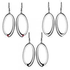 Stainless Steel Oval Earrings w/ Enamel Accent