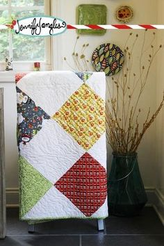 """Oh my, how did we get to Holiday Project 4 already? Time is flying by this year. Here's an easy quilt to make. I made it in a day. It's 12"""" blocks on point. Eve"""