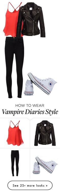 """Elena Gilbert outfit (vampire diaries)"" by adriannablest on Polyvore featuring Frame Denim, Anine Bing and Converse"