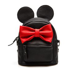 2016 Leather Girl Cute Backpack Small Scholl Mini Bow Top-Handle Backpacks Women Bag Mickey Ears Mochila Escolar Feminina Pink