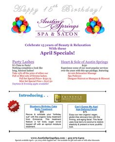 Celebrate 15 years of beauty & relaxation with our April specials! Party Lashes, Spa Specials, Salon Services, Body Wraps, Environment Design, Spa Treatments, Beauty Room, 15 Years, Pedi
