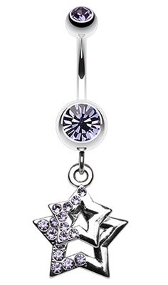 Double Hollow Star Glass-Gem Dangle Belly Button Ring #Star #BellyRing #StarBellyRing #BodyMod #BodyModification #Piercings