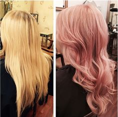 From a summer blonde to a warm rose gold. Color by Dianna Simone, Ken Paves Salon Michigan. #pastel #haircolor #rosegold