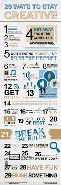 Looking for ways to stay creative? Check out this info graphic and learn 29 ways to stay creative.