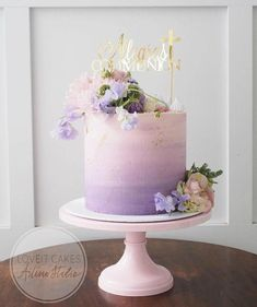 This pastel beauty designed by is perfect for a summer soirée! Its paired with my Pretty in Pink Picture Perfect cake stand. TAP THE CAKE STAND & see the full collection. Cake Pink, Purple Cakes, Purple Birthday Cakes, Flower Birthday Cakes, Pink Ombre Cake, Elegant Birthday Cakes, Beautiful Birthday Cakes, Purple Wedding Cakes, Purple Ombre
