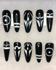 Goth Nails, Edgy Nails, Grunge Nails, Stylish Nails, Swag Nails, Almond Acrylic Nails, Best Acrylic Nails, Anime Nails, Nagellack Design