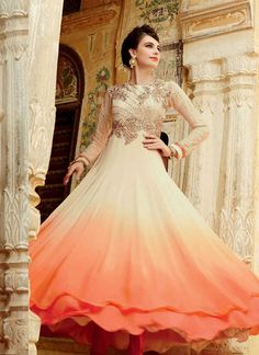 Cream and orange shaded salwar suit