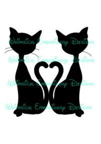 Cat Heart Tails Silhouette Cut Design
