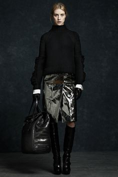 Belstaff — We predict mirrored-skirt mania after seeing this look from Belstaff.