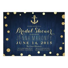 Navy Blue Gold Foil Anchor Nautical Bridal Shower Card If you need custom colors or assistance in creating your design, please feel free to contact me at zazzlepartydepot@gmail.com. I look forward to hearing from you!