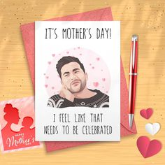 David Rose Mother's Day Card | David Rose Cards | Schitts Creek Cards | Schitts Creek Mother's Day Cards | Moira Rose | Alexis Rose David Rose, Love Anniversary, Valentine Greeting Cards, Schitts Creek, Pigment Ink, Card Sizes, Card Stock, Birthday Cards, Envelope