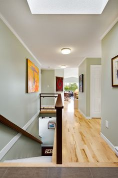 Fairwinds - transitional - hall - vancouver - B. Gallant Homes Ltd.-wall color Benjamin Moore Spanish Olive