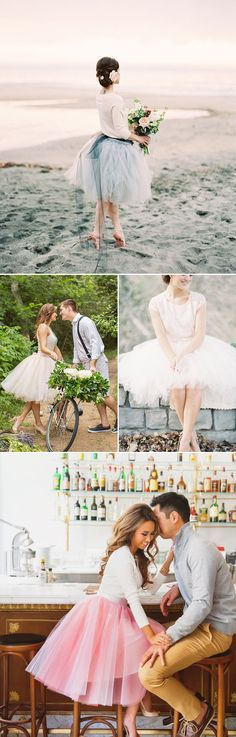 What to Wear for Your Engagement Shoot 30 Stylish Outfit Ideas for Engagement Photos You'll Love! - Short Tulle Skirt Tutu