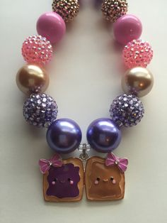Sweet Peanut Butter and Jelly Chunky Bead necklace by MissMelsCottage on Etsy