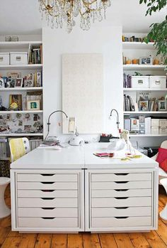 Craft room ideas. This would be awesome in a family room so you could use it for a craft space or a game table.