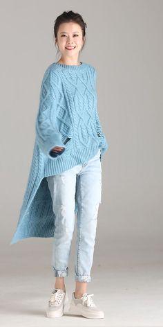 Womens Fashion - Blue Casual Long Sweater Women Warm Fall And Winter Tops Long Sweaters For Women, Cardigans For Women, Knitwear Fashion, Knit Fashion, Knitting Designs, Knitting Patterns, Winter Tops, Warm Autumn, Fashion Mode