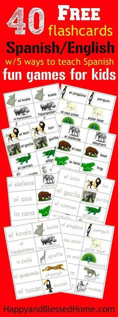 40 Free Spanish-English Flashcards of Jungle Animals and 5 Fun Games for Kids
