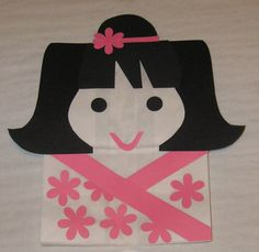 Asian Theme Treat Sacks - Japanese Doll Girl Cherry Blossom Birthday Party Goody Bags by jettabees on Etsy