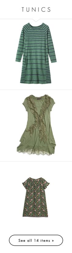 """""""T U N I C S"""" by lorika-borika on Polyvore featuring dresses, panel dress, green a line dress, green dress, striped jersey, jersey dresses, tops, shirts, vestiti и big girls"""