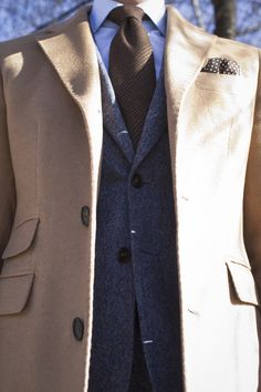 #men #fashion #style #tie #tweed #jacket #camel #topcoat #pocketsquare #Guy Style Guide