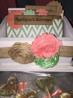 Coral and Teal Bridal Shower. Recipe caddy by peachykeenday on Etsy