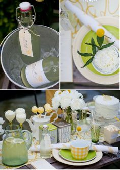 """while individual lemonades were presented in vintage pop-top bottles, """"Drink Me"""" tags attached with the intention to make guests smile."""