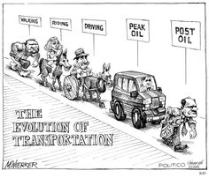 The evolution of transportation.  By Matt Wuerker #GoComics #PoliticalCartoon #Politics #Oil