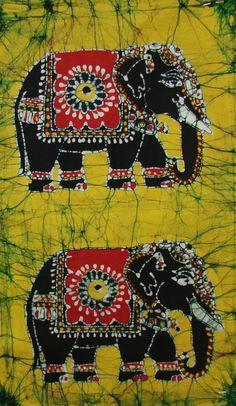 """Gemaakt in India, kleurrijke batik """"olifanten op mosterdgele achtergrond"""". www.sewiso.com"""