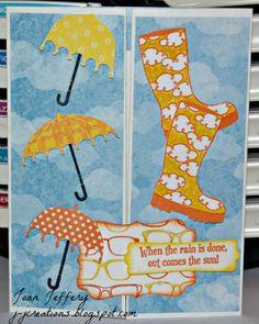 """J J Creations: 'Brellas & Boots & Piano Hands """"kissingtechnique Piano Hands, Umbrella Cards, Stampin Up, Boots, Projects, Stamps, Crotch Boots, Log Projects, Seals"""