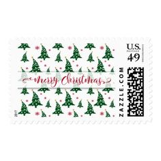 Red Merry Christmas Dancing Green Christmas Trees Postage - red gifts color style cyo diy personalize unique