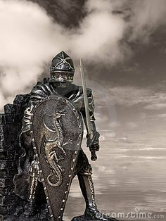 Knights Armor With Helmet Chain Mail Gloves And Sword Stock Photo