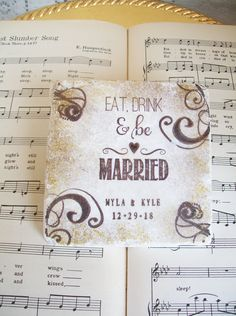 Eat, Drink & be Married Wedding Coasters, Personalized Wedding Coasters, Gift for Couples,Stone Coasters,Antiqued Edges in Gold and Espresso by PrayerNotes on Etsy