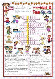 sports crossword worksheet free esl worksheets ell pinterest posts. Black Bedroom Furniture Sets. Home Design Ideas