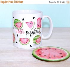 ON SALE Hello Sunshine Watermelon Mug And by TheBestOfMeDesigns