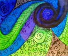 Koru Spiral Plant painting using Watercolors in cool colors Color Art Lessons, Spirals In Nature, Nz Art, Oak Grove, Year 8, Maori Art, Plant Painting, School Art Projects, Middle School Art