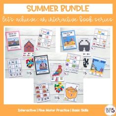 Interactive books are a great way to teach and practice basic skills. These books feature a variety of pre-academic and fine motor tasks. Use interactive books to keep your children or students actively engaged in work through the use of a creative theme and a structured set of activities.This Summe...