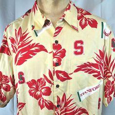 bdf056e68 Stanford University Vtg Reyn Spooner Hawaiian Shirt XL Mens Rayon Aloha NWT  Rare