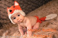 Crochet Fox Hat and Diaper Cover ,photo prop newborn girl, boy, animal costume $38