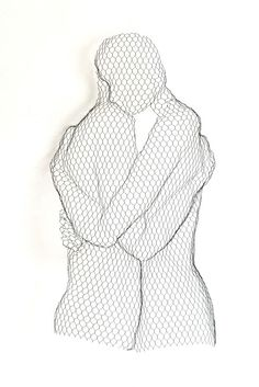 Chickenwire Wall Mounted or Wall Hanging sculpture by artist William Ashley-Norman titled: 'Peace (Peaceful Lovers Contemporary Hugging abstract Wall statue)'