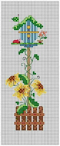 Cross-stitch Fall Birdhouse... no color chart available, just use pattern chart as your color guide.. or choose your own colors...    BIRDHOUSE - 6