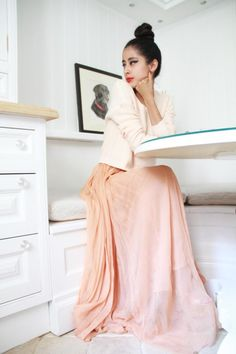 Love the floatiness of this Liz.    Winter wedding idea for your bridesmaids peach/apricot jumper and maxi skirt