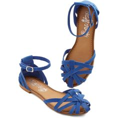 ModCloth Sums it Up Sandal (925 MXN) ❤ liked on Polyvore featuring shoes, sandals, flats, blue, zapatos, ballet flat, flat, blue flat sandals, blue ballet flats and leather strappy sandals