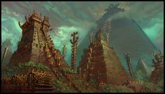 The great temple city of Tlachmiz is a relic of a people lost to time. Now the Panthera inhabit temple cities like Tlachmiz for protection against the more savage races of the jungle. Architecture Temple, Architecture Artists, Fantasy City, Fantasy Places, Fantasy Battle, Fantasy Art Landscapes, Fantasy Landscape, Fantasy Artwork, Lizardmen Warhammer
