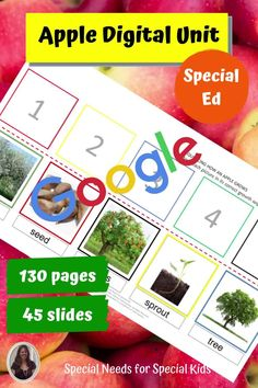 This digital unit on apples was designed for students with autism and special learning needs in elementary school. It includes the complete printable version on the unit PLUS digital versions for every activity. It includes 130 pages and 45 google slides. There is also a movie of the powerpoint for students to watch on-line. #distancelearning #specialneedsforspecialkids #SPED #specialed #SpecialEducation #lessonplans #science #apples #backtoschool #googleslides Special Education Activities, Special Education Classroom, Google Classroom, Classroom Ideas, Circle Map, Apple Unit, Special Kids, Sorting Activities, Writing Practice