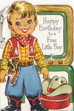 vintage cowboy paper doll card Happy Birthday Vintage, Happy Birthday Greetings, Vintage Valentines, Vintage Holiday, Birthday Wishes, Birthday Cards For Boys, Birthday Images, Boy Birthday, Happy Birthday Illustration