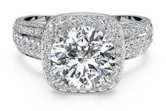 #Ritani Masterwork Cushion Halo Triple Diamond Band Engagement Ring with Surprise Diamonds