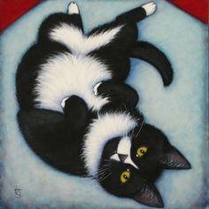 Tuxedo cat cards. Charlie Hamming it Up. Set of 5 by heidishaulis on Etsy